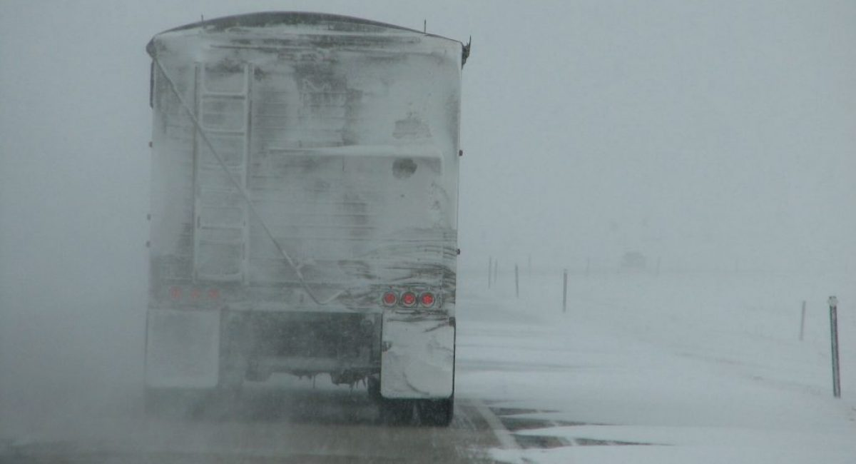 Truck in drifting snow