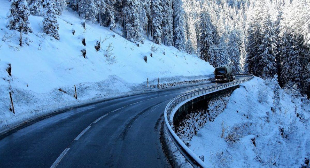Truck on snowy pass